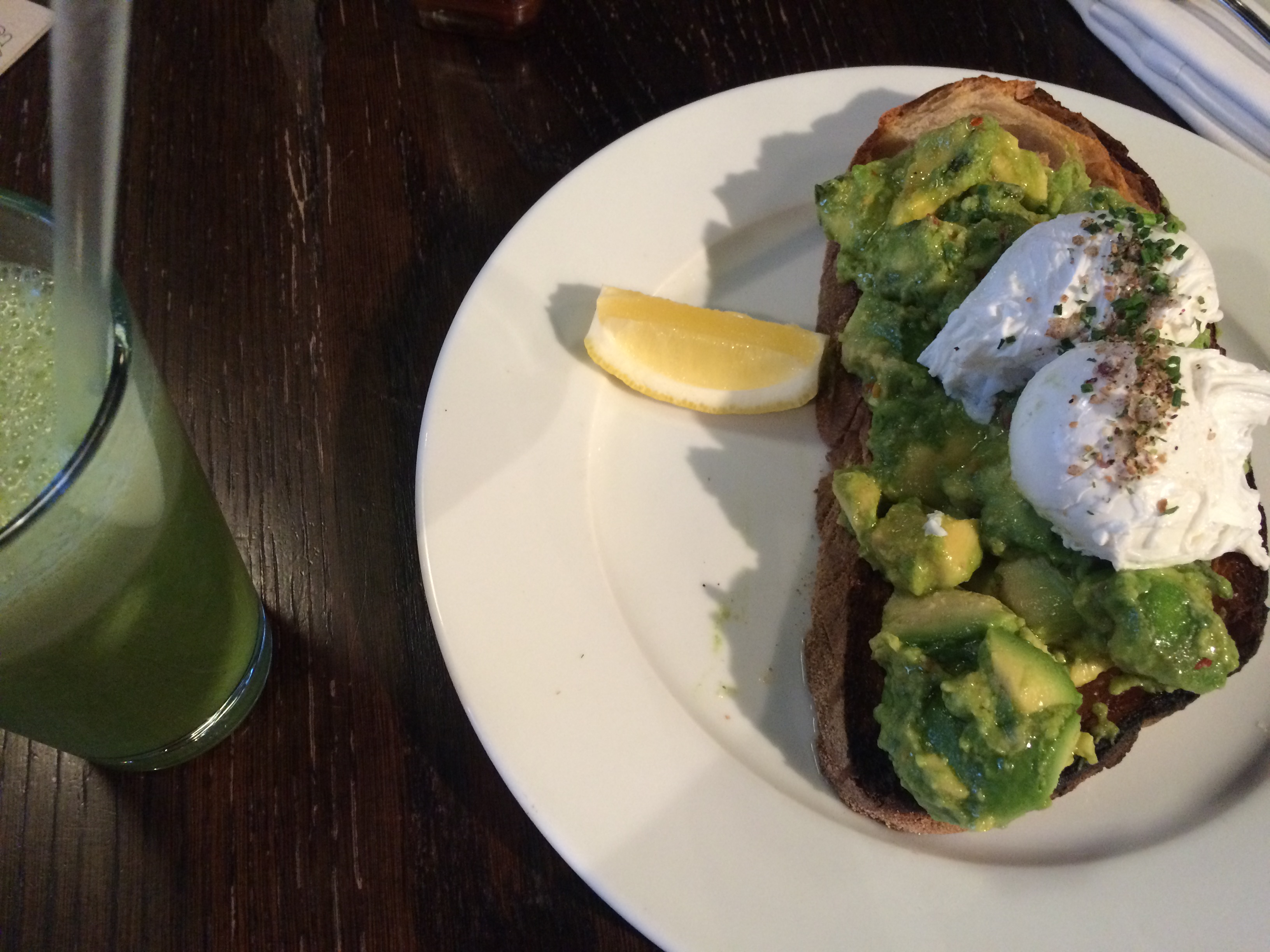 Avocado, poached egg, sourdough. Choice of smoothie: Go Green